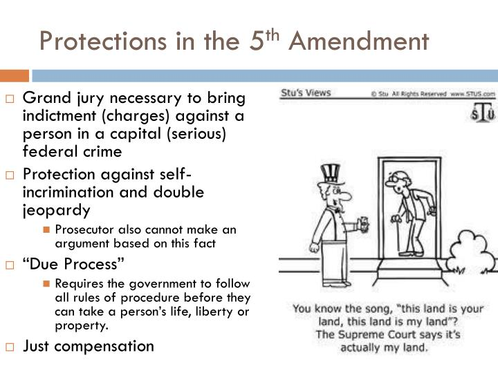 the 5th amendment essay The fifth amendment fifth amendment is an amendment to the united states that authorizes due process of law and forbids self-incrimination, and that no person may be tried for a second time on a charge he has already been cleared off.