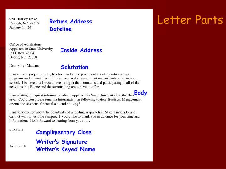 Letter Parts