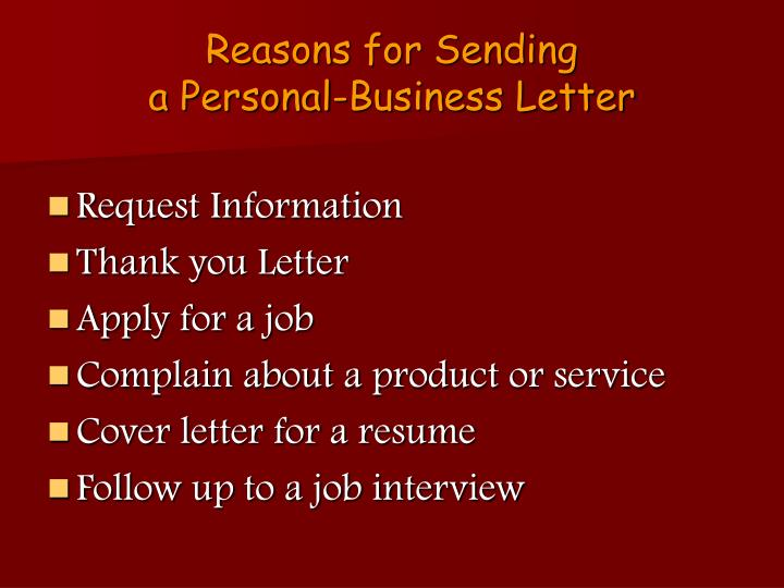 Reasons for Sending
