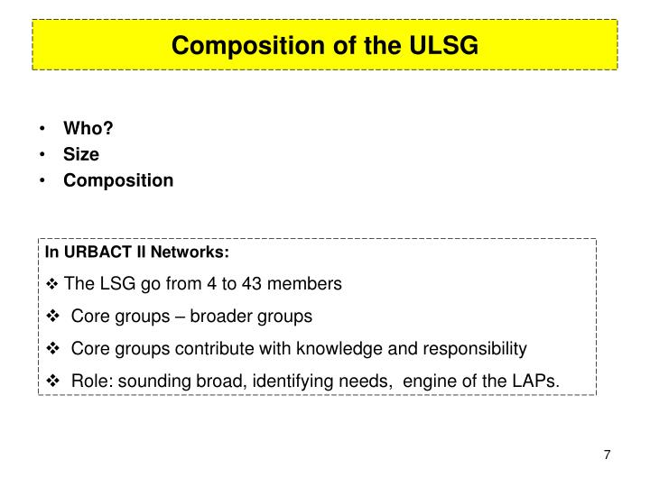 Composition of the ULSG
