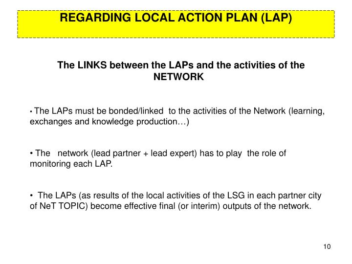 REGARDING LOCAL ACTION PLAN (LAP)