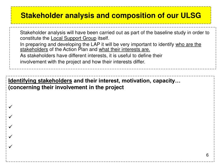 Stakeholder analysis and composition of our ULSG