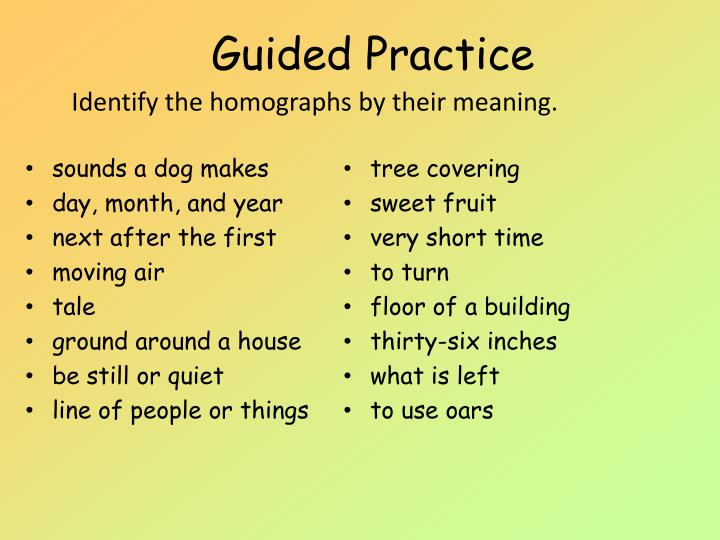 Identify the homographs by their meaning.