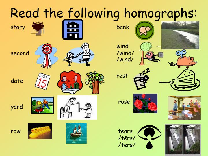 Read the following homographs: