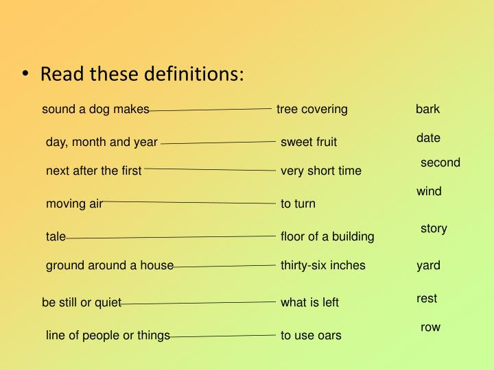 Read these definitions: