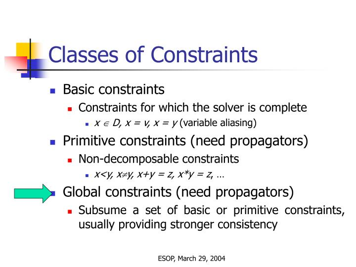 Classes of Constraints