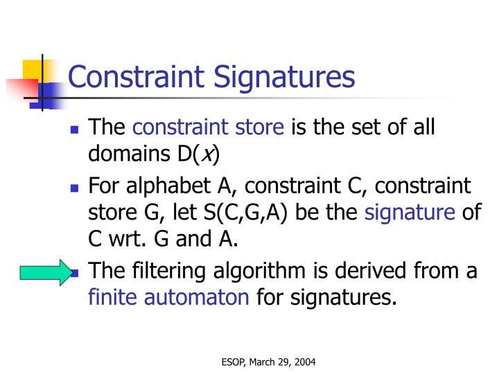 Constraint Signatures