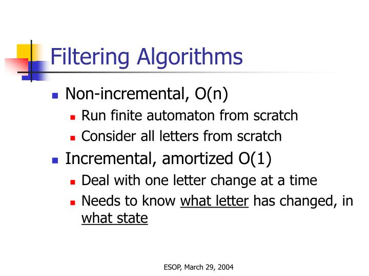Filtering Algorithms