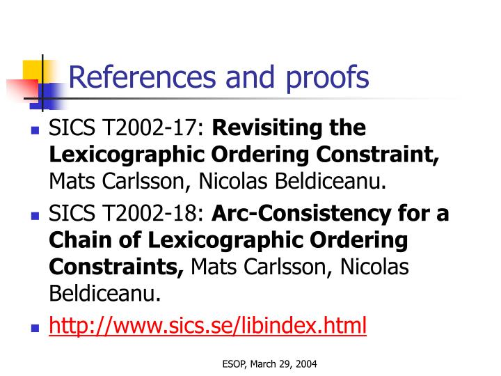 References and proofs