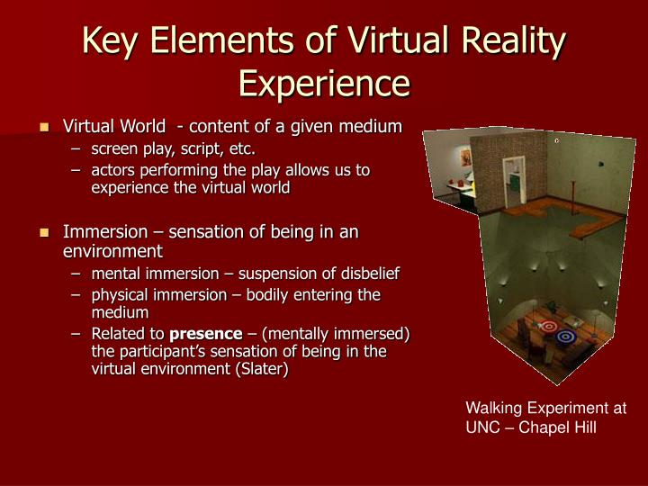Key Elements of Virtual Reality Experience