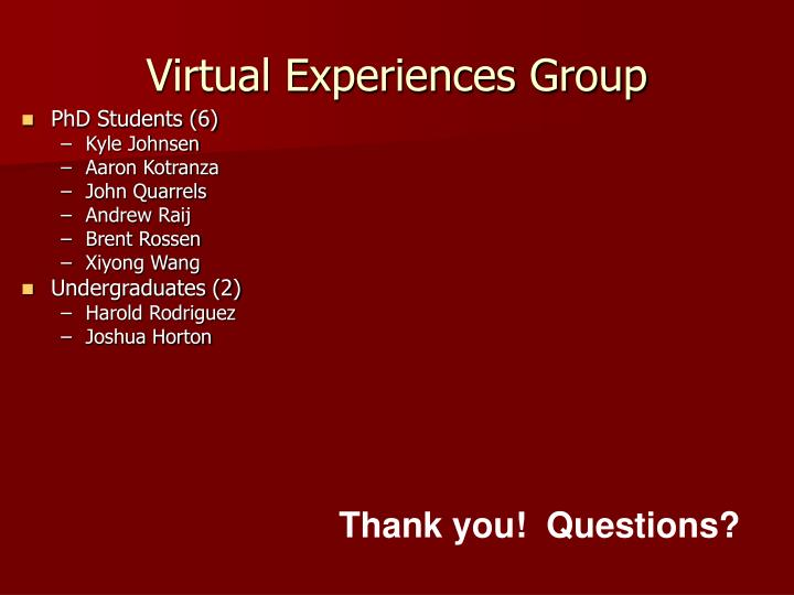 Virtual Experiences Group