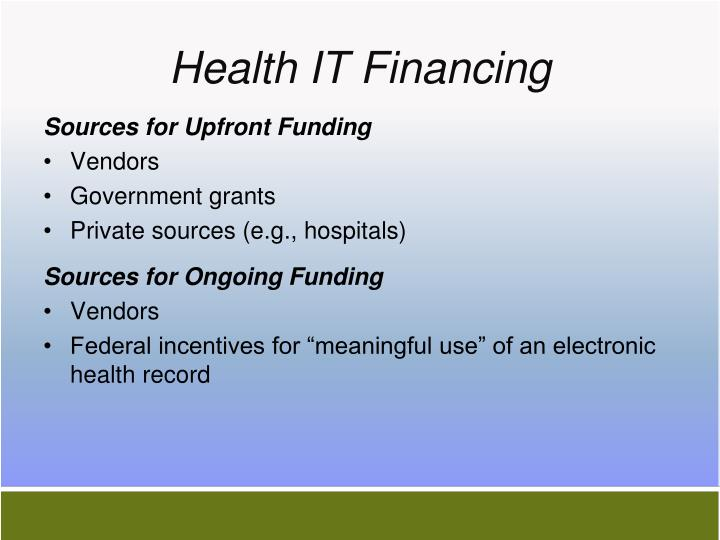 Health it financing