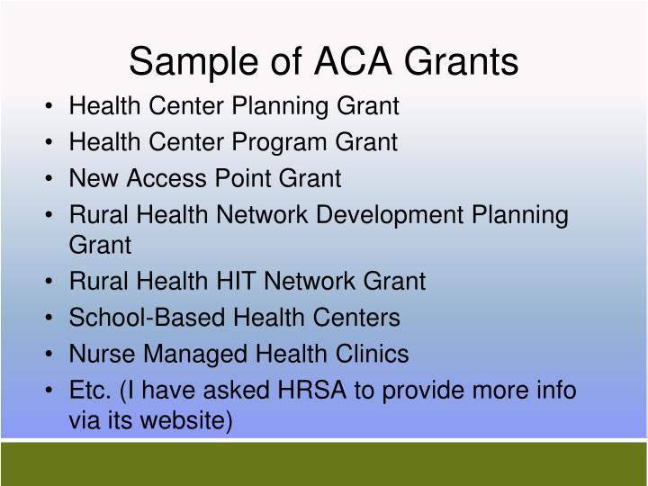 Sample of ACA Grants