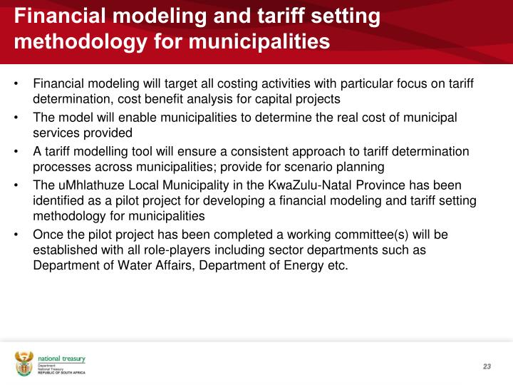 Financial modeling and tariff setting methodology for municipalities