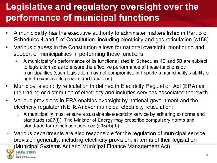 Legislative and regulatory oversight over the performance of municipal functions