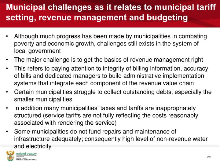 Municipal challenges as it relates to municipal tariff setting, revenue management and budgeting
