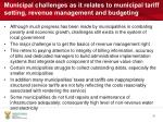 municipal challenges as it relates to municipal tariff setting revenue management and budgeting