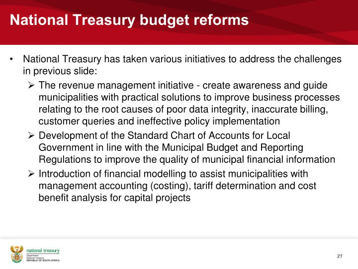 National Treasury budget reforms