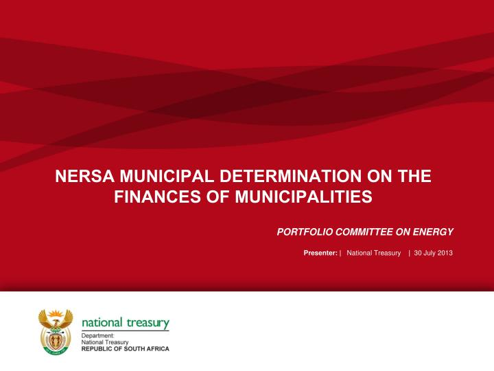 Nersa municipal determination on the finances of municipalities