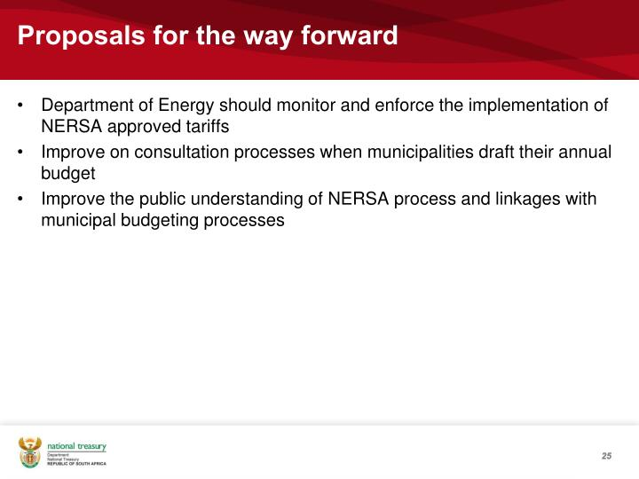 Proposals for the way forward