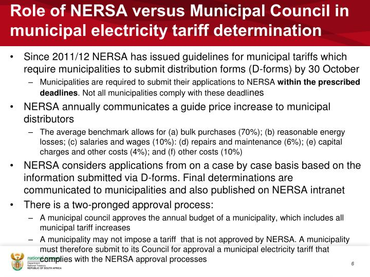 Role of NERSA versus Municipal Council in municipal electricity tariff determination