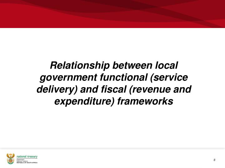 Relationship between local government functional (service delivery) and fiscal (revenue and expenditure) frameworks