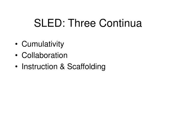 SLED: Three Continua