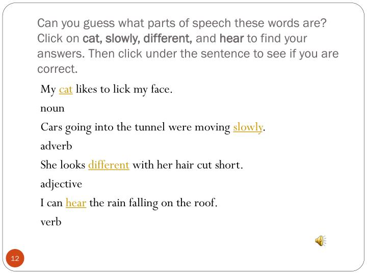 Can you guess what parts of speech these words are? Click on