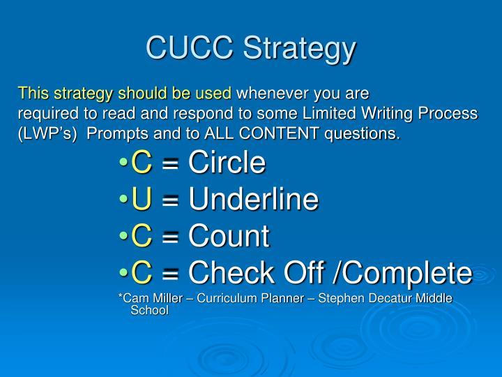 CUCC Strategy