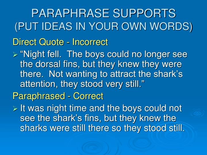 PARAPHRASE SUPPORTS