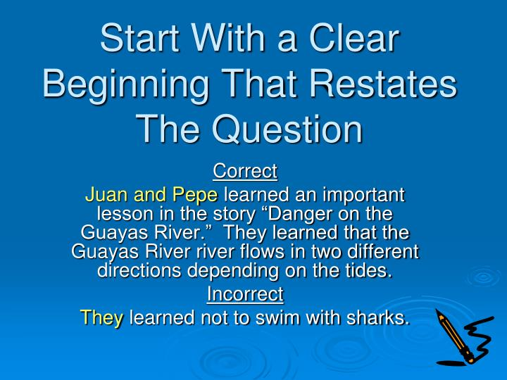 Start With a Clear Beginning That Restates The Question