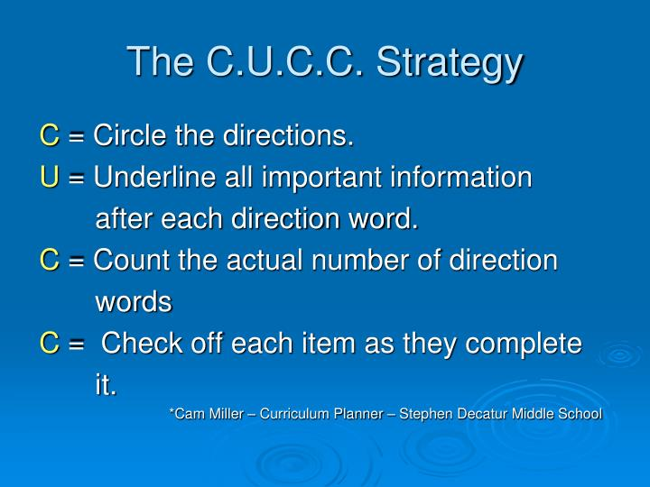 The C.U.C.C. Strategy
