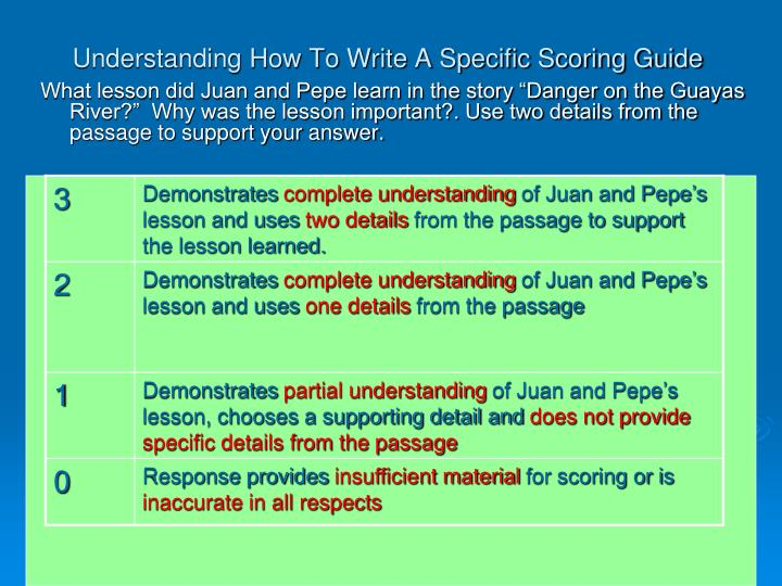 Understanding How To Write A Specific Scoring Guide