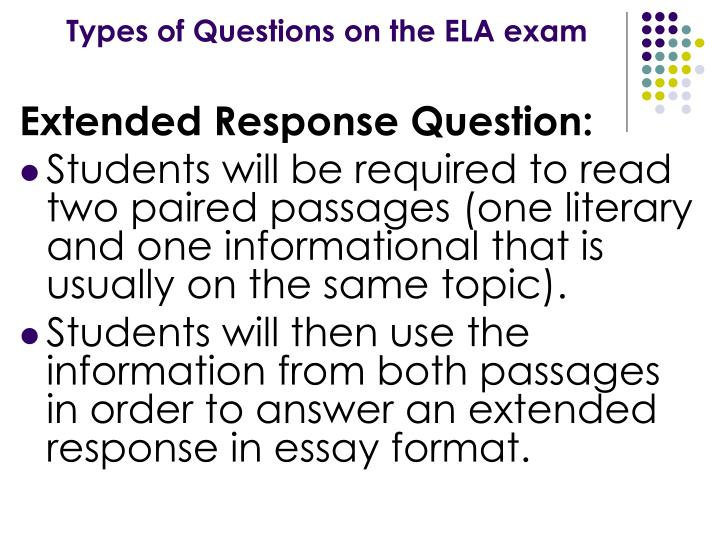 Types of Questions on the ELA exam