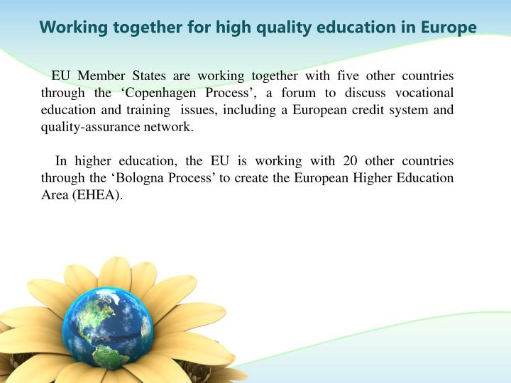 Working together for high quality education in Europe