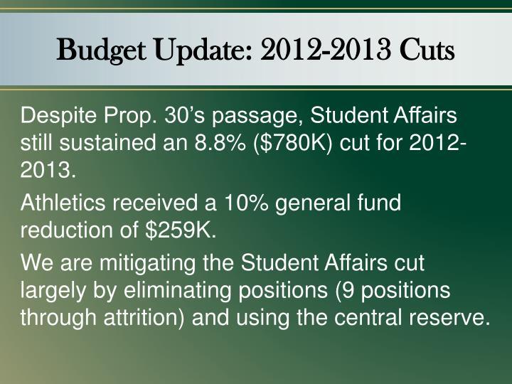 Budget Update: 2012-2013 Cuts