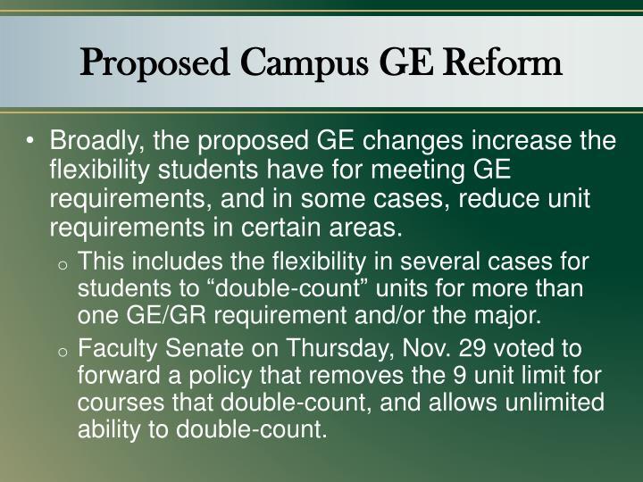 Proposed Campus GE Reform