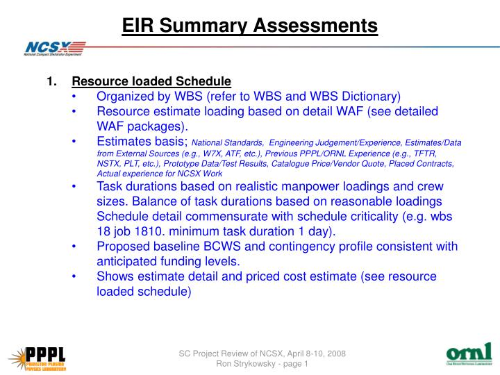 Eir summary assessments