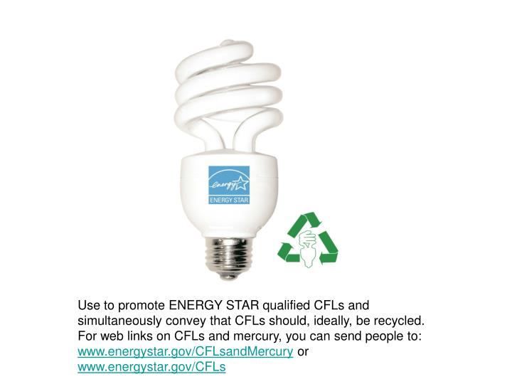 Use to promote ENERGY STAR qualified CFLs and simultaneously convey that CFLs should, ideally, be re...