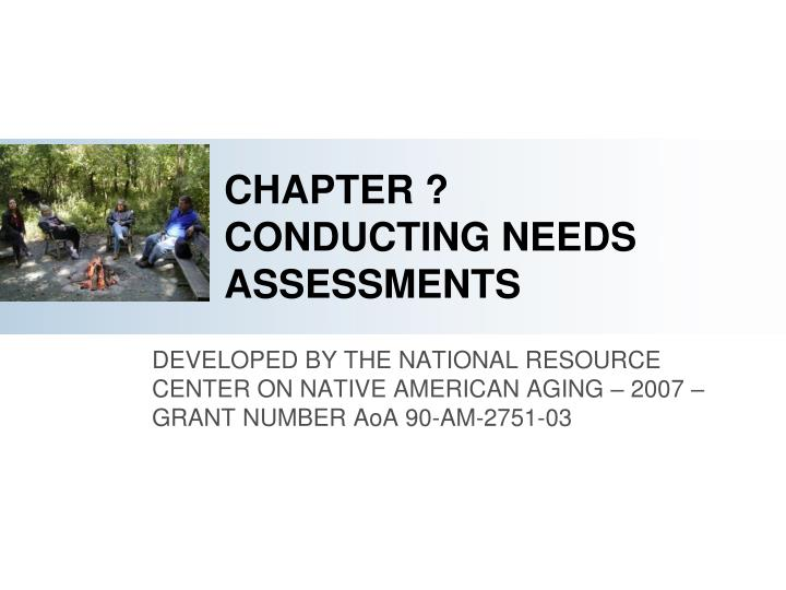Chapter conducting needs assessments