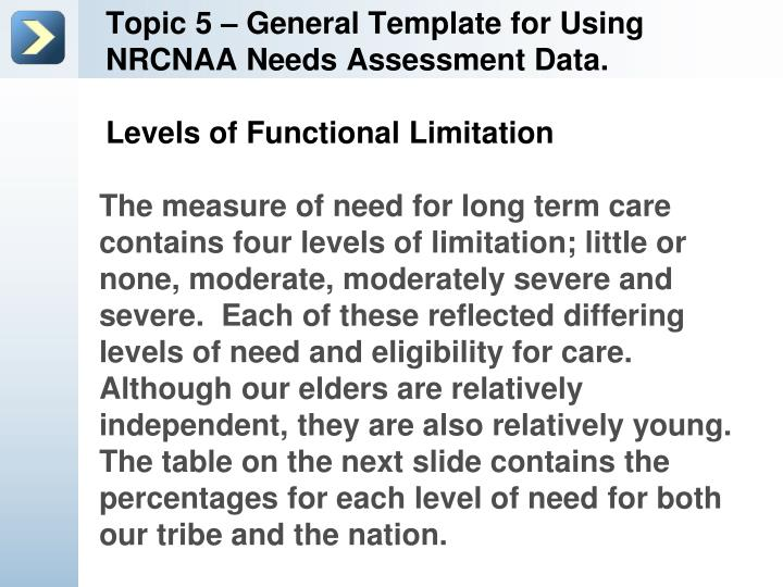 Topic 5 – General Template for Using NRCNAA Needs Assessment Data.