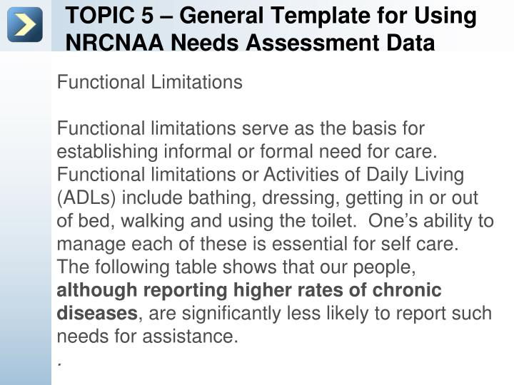 TOPIC 5 – General Template for Using NRCNAA Needs Assessment Data