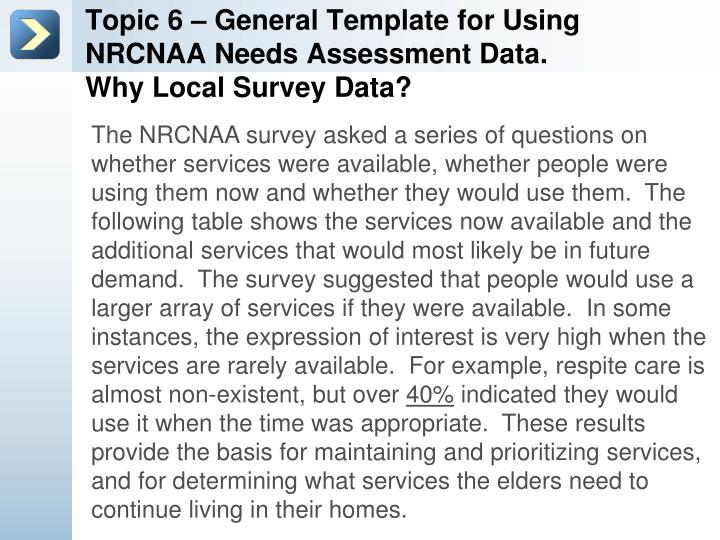 Topic 6 – General Template for Using NRCNAA Needs Assessment Data.