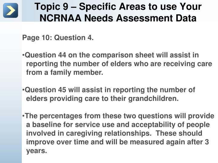 Topic 9 – Specific Areas to use Your NCRNAA Needs Assessment Data