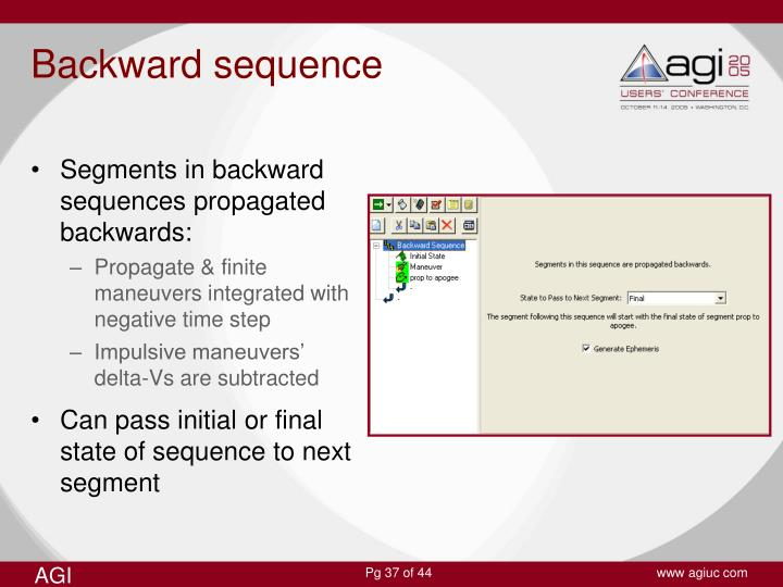 Segments in backward sequences propagated backwards: