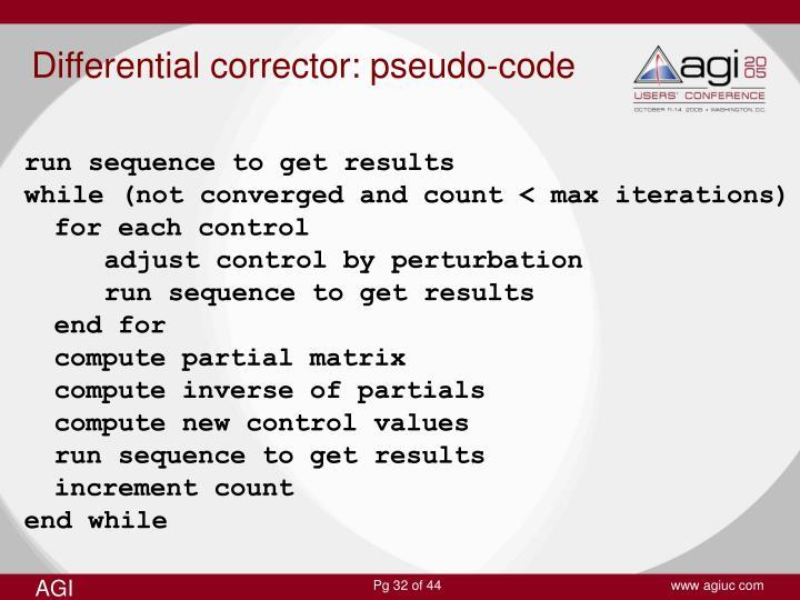 Differential corrector: pseudo-code