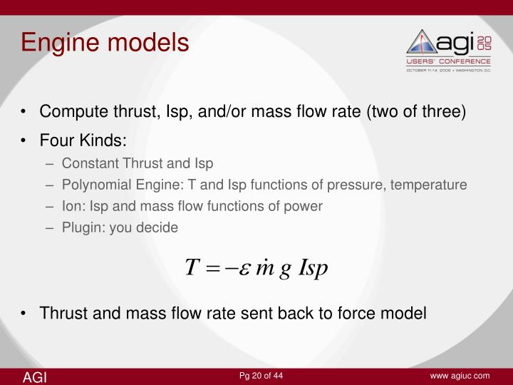 Compute thrust, Isp, and/or mass flow rate (two of three)