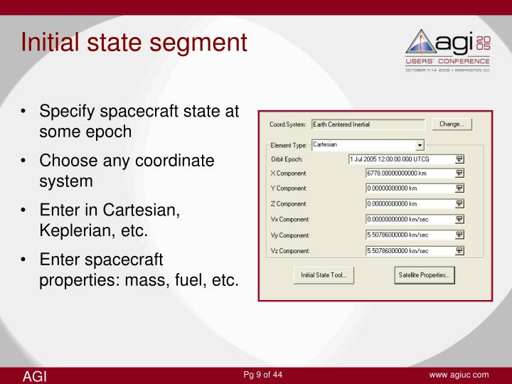 Specify spacecraft state at some epoch