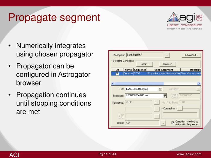 Numerically integrates using chosen propagator