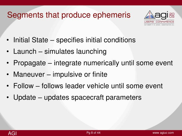 Segments that produce ephemeris